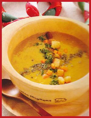 玄米いも粥を使用した野菜のクリームスープ