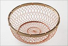 手編みかご 銅×竹|中