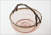 手付手編みかご 銅×竹|中