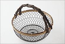手付手編みかご 銅(黒メッキ)×竹|中
