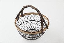 手付手編みかご 銅(黒メッキ)×竹|小