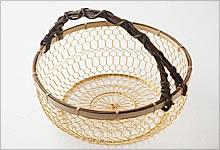 手付手編みかご 銅(金メッキ)×竹|大