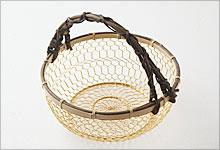 手付手編みかご 銅(金メッキ)×竹|中