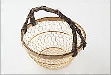 手付手編みかご 銅(金メッキ)×竹|小