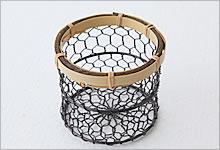 おしぼり入れ 銅(黒メッキ)×竹|黒